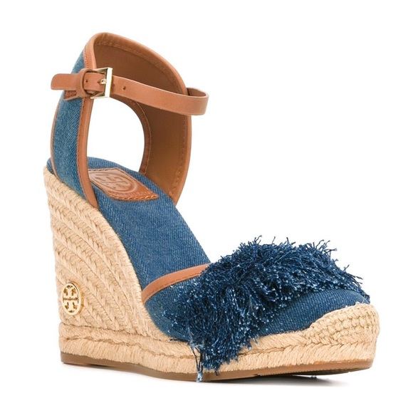 985b5534e093f3 Tory Burch Denim Wedge Sandals